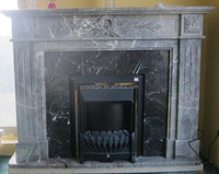 modern marble gas fireplace/stone fireplace