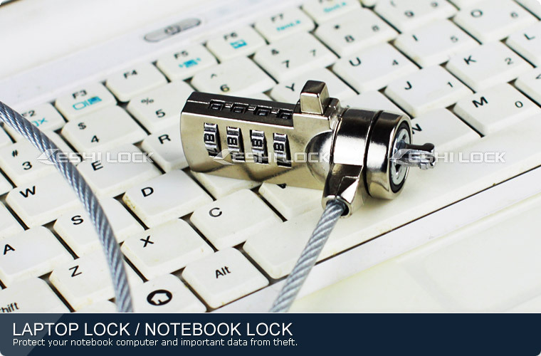 Notebook Computer Lock With Key, PC Chain Cable Laptop Security Lock With Combination