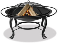 34.6-Inch Diameter Black Firepit with Outer Ring