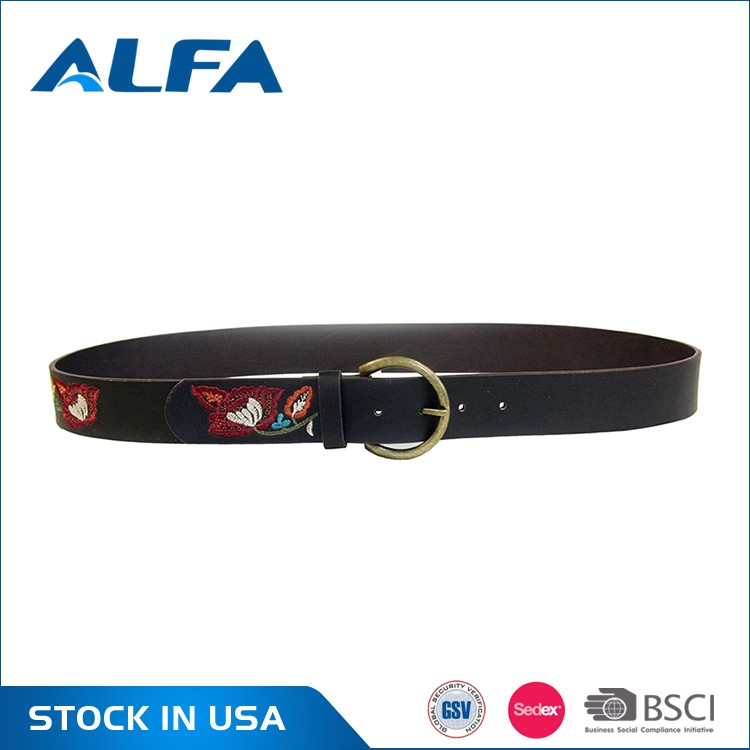 Alfa Chinese Factory Custom New Design OEM PU Leather Embroidered Belts Wholesale