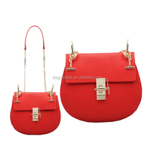 CC44-029 Fashion Long Chain Lady Celebrity Drew Pig Cross Body Bag Red PU Leather Lady Sling Bags