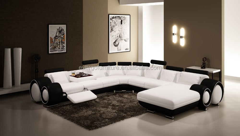 Evergo moderne erhitzt leder wohnzimmer design beige orange chaise sitzgruppe wohnzimmer sofa - Wohnzimmer orange beige ...
