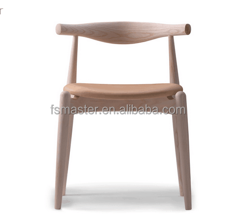 replica classic solid ash wood black/white color different type color Hans CH20 Elbow Chair with PU/fabric seat
