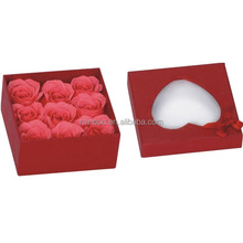 Supply Cheap rose flower soap with heart shape gift box for promotion
