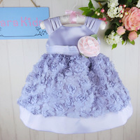 Latest 2015 Fashion Frock Design Flower Girl Dress Purple Party Baby 1 Year