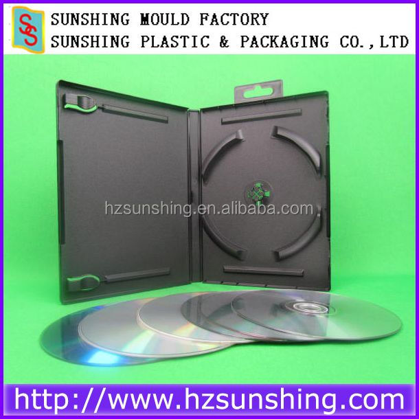 Good Quality 6 Discs Case PP Black 14Mm Sextuple Dvd Case