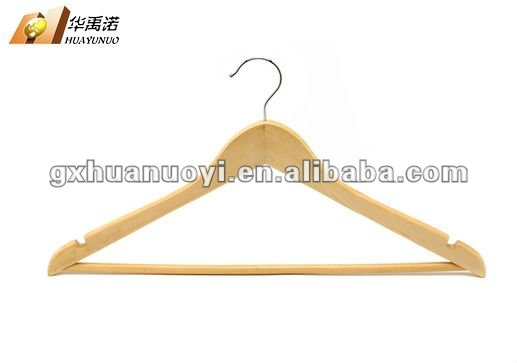 cheap wood hanger/Wood hanger with round bar with notches on shoulder/sillas de madera/rymachine madera/percha