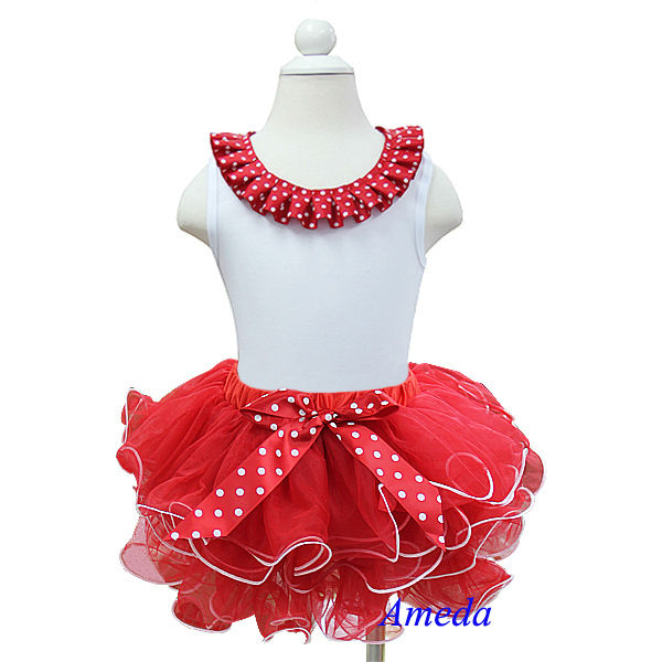 Red Polka Dots Ruffles Neck White Tank Top with Red White Petal Pettiskirt 1-7Y