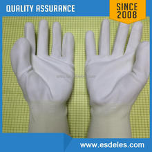 antistatic nylon gloves with carbon fiber, pu fingertio coating