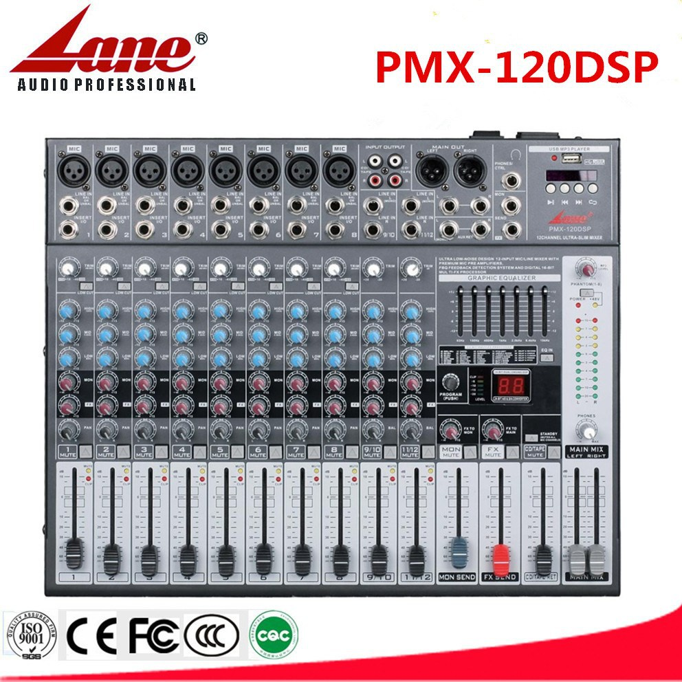 Lane professional USB audio 12CH Karaoke mixing console with built-in amplifier PMX-120DSP