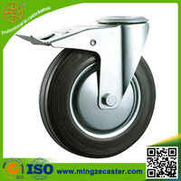 Bolt hole heavy duty rubber coated steel wheel