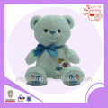 Plush white bear ,embroidery stuffed toys with ribbon