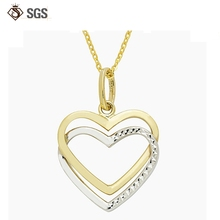 Double Heart Silver Plated gold necklace without stones
