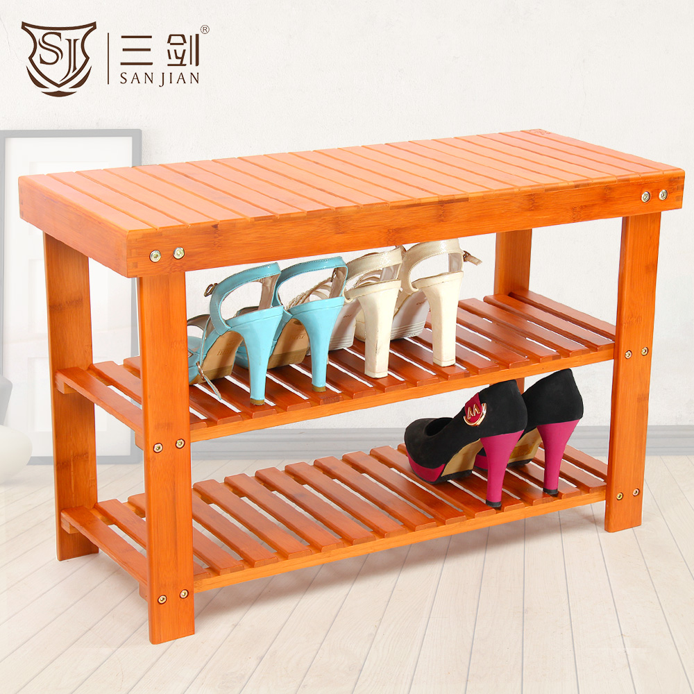 SANJIAN Natural Bamboo Shoes Rack Bench