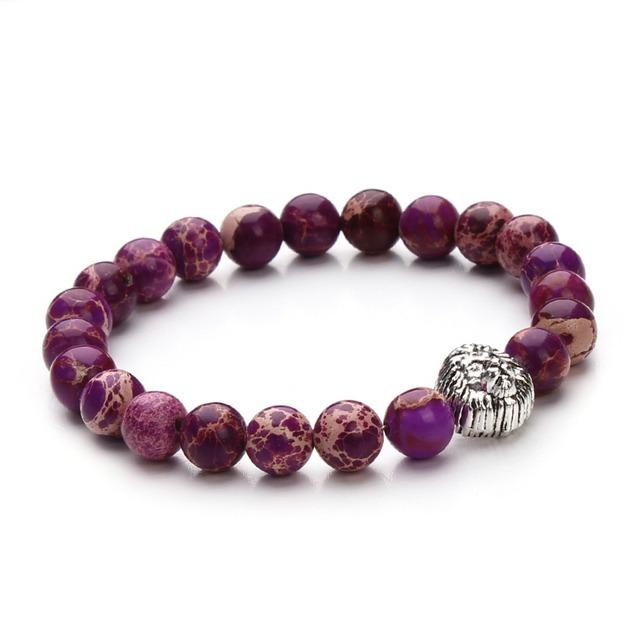 Natural Gemstone Purple Imperial Jasper Strench lion Head Mens Bracelet