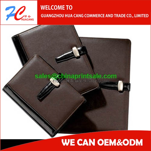 PU hardcover note book printing supplier/personalized leather notebook covers