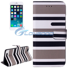 Variegated Stripe Texture PU Leather Back Case with Card Slots for iPhone 6 (IP6-017)