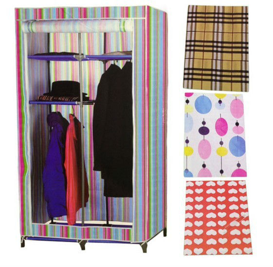 DOUBLE CANVAS WARDROBE RAIL CLOTHES STORAGE SHELF CLOTH RACK SHELVES NEW COLOURS