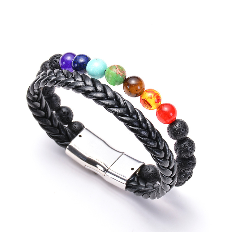 New Fashion Multilayer Volcanic  & Leather Mens Black Lava Beads Magnetic Bracelet