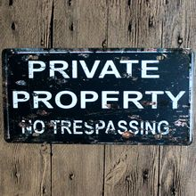 Private Property No Trespassing Nostalgic Retro Embossed Car number/Licence plate Vintage Metal Sign