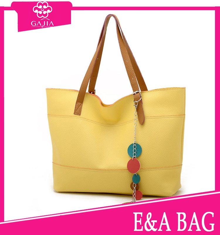 2015 hot sale light yellow tote bag fashion young ladies wholesale leather durable brand name designer cheap handbag from China