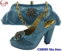 CSB590 Sky blue new african style design shoes with handbag high end ladies wedding/daily shoes and bag
