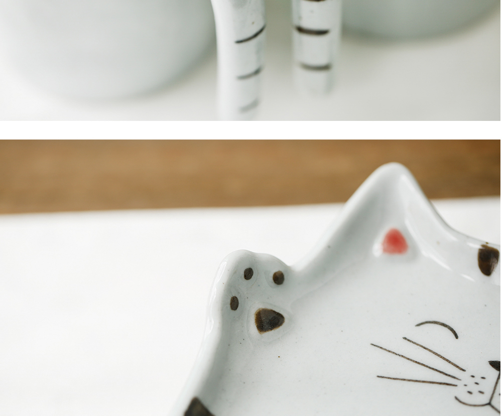 Microwave safe wholesale new design cat shaped handmade ceramic pottery with tray coffee cup