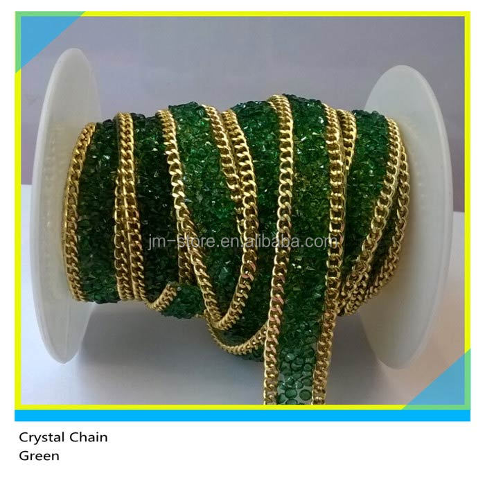 Hot Fix Rhinestone Trimming Gold Chain mix Ss16 4mm Green Resin Stone