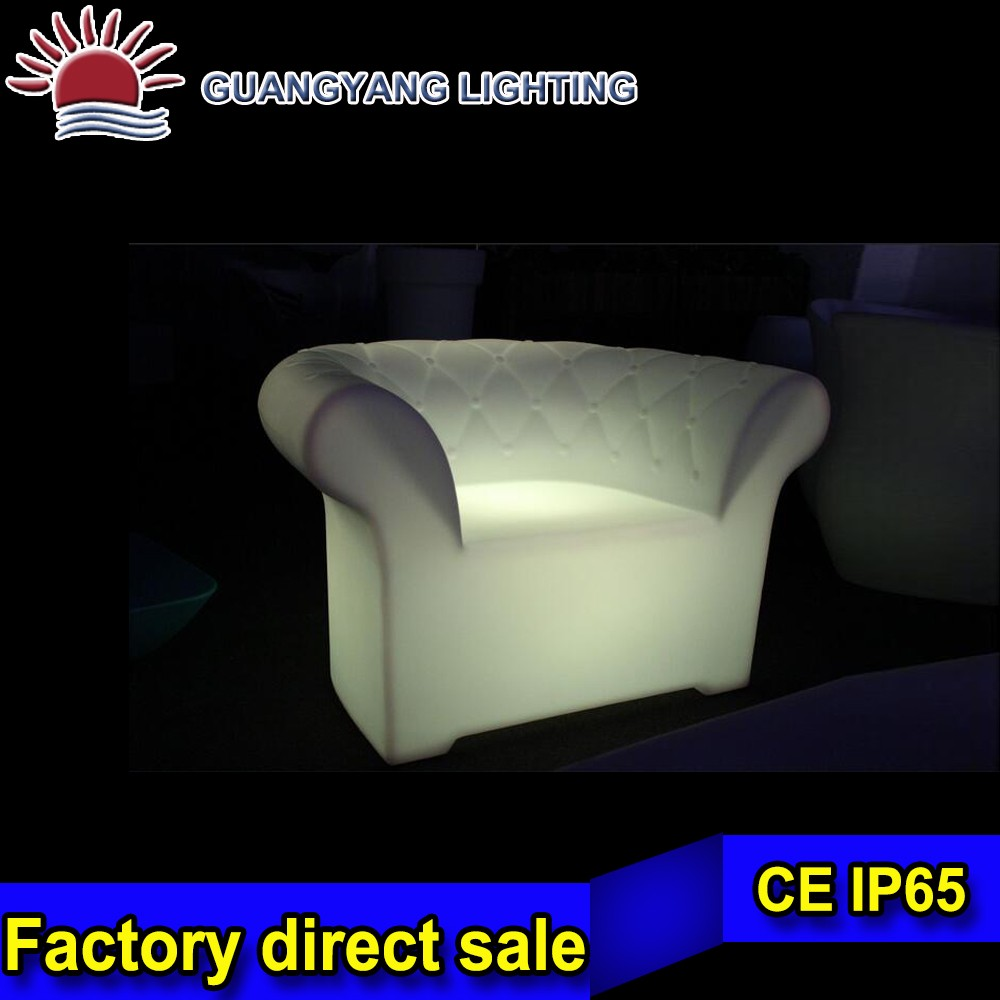 comfortable hotel decoration LED light sofa / plastic LED bar chairs / LED light up outdoor furniture