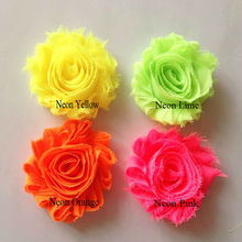 vintage neon chiffon flowers shabby chic frayed shabby flowers,shabby rose trim, chiffon shabby flower wholesale