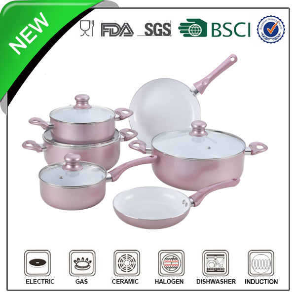 rose gold white ceramic painting aluminum germany cookware