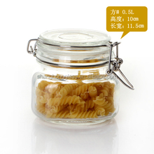Glass storage jars with glass lid and wire clip top for 250 ml honey storage