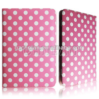 High quality polka dot style stand leather 8-inch tablet leather case