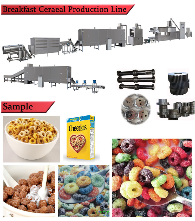 automatic twin screw extruders machine of breakfast cereals