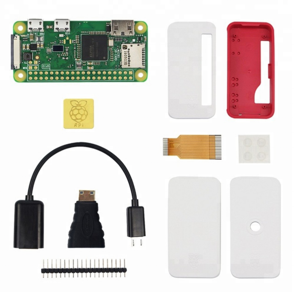 Raspberry Pi Zero <strong>W</strong> Kit +Official Case+Copper Heat Sink+Micro OTG cable+GPIO Header+Mini HDMI to HDMI Adapter