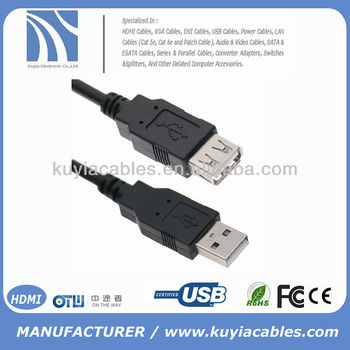 5FT 1.5M USB AM TO AF EXTENSION CABLE USB 2.0 BLACK - Hi-speed data transfer up to 480 Mbps
