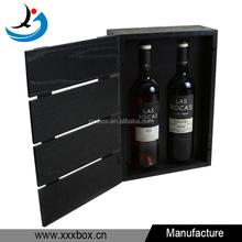 personal tailor high grade 2 bottle wooden wine storage box with black stain