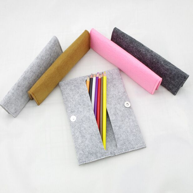 China wholesale Polyester felt pencil case with button closure for promotion stationery bag