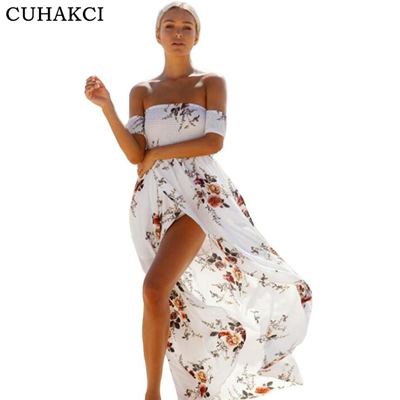 CUHAKCI New Design Ladies Boho Maxi Off Shoulder Dress Beach Summer Floral Print Elegant Women Chiffon White Long Dresses