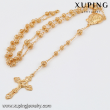 2016 Xuping 18k gold latest design sweater rosary necklace, fancy chain religious cross rosary necklace jewelry