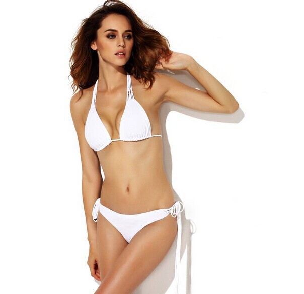 High Quality Sexy White Bandage Bikini Swimsuit Free Shipping
