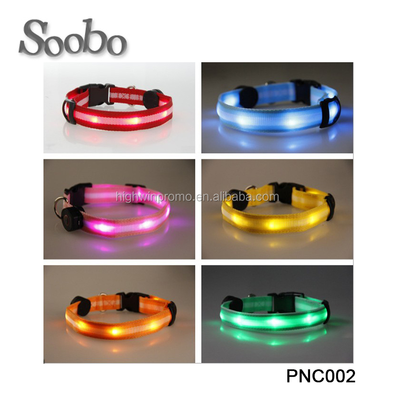 Led Nylon buckle Dog Collar,custom bulk wholesale electric glowing dog collar, waterproof lighted decorations dog collar