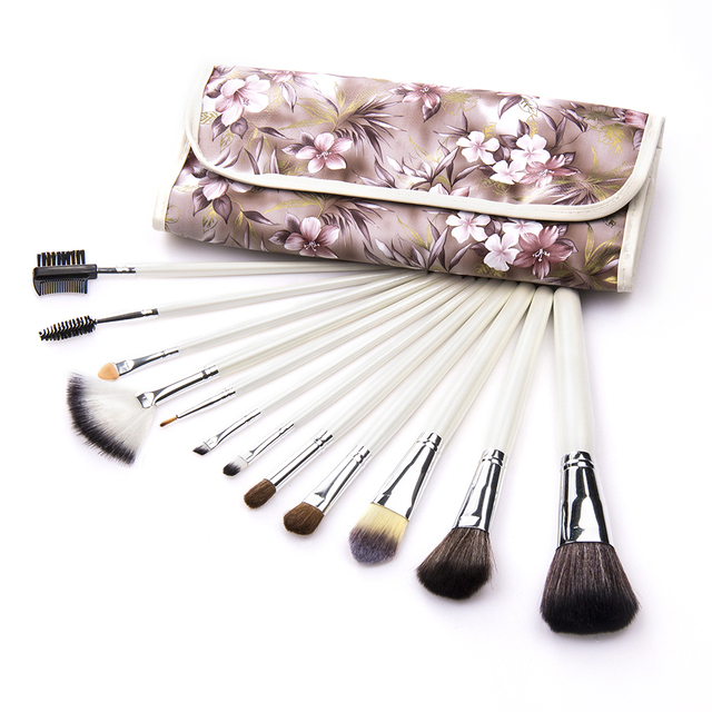 Travelling 12PC Goat Hair professional Makeup Brush Set With Flowered PU Bag