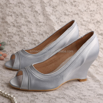 Bride Wedge Shoes Silver Satin