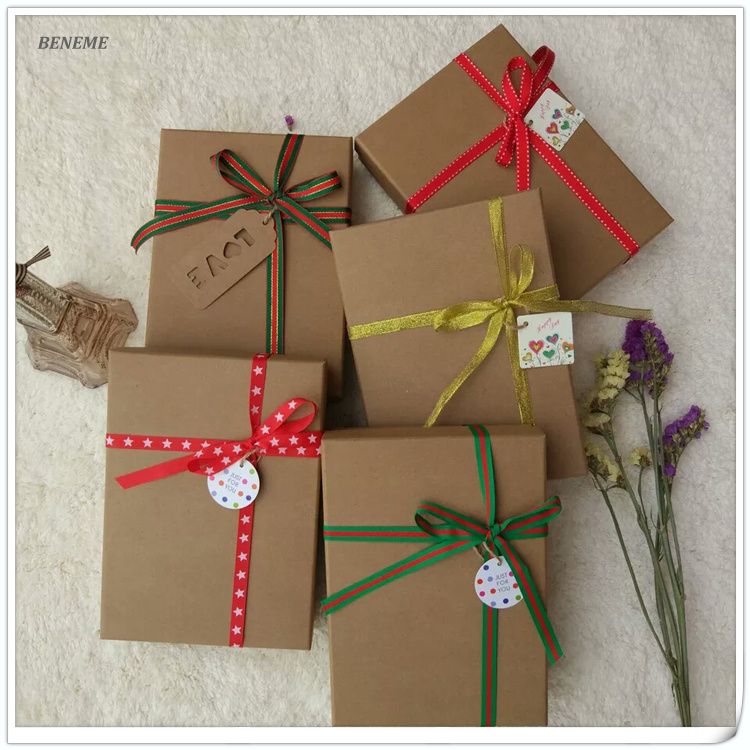 Creative Classical Art Kraft Paper Birthday Holiday Card Gift Packaging Boxes Wholesale with Tag
