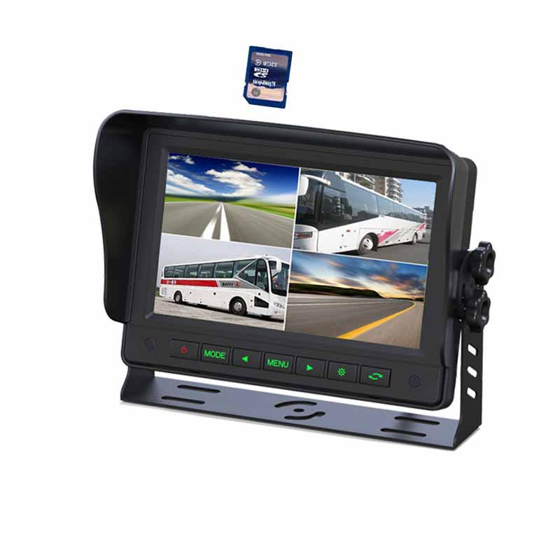 "7"" quad DVR recording car lcd monitor with 4 way video inputs"