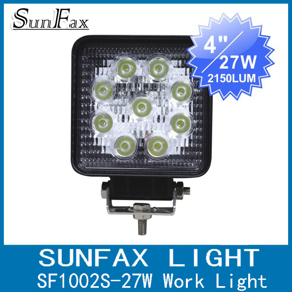 "Factory promotion! 4"" 27w Square Hight brightness waterproof motorcycles atv utv trucks tractors led work light"