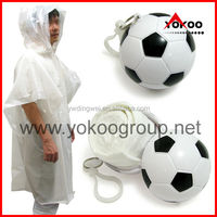 Plastic poncho ball with keychain,Disposable PE poncho inside