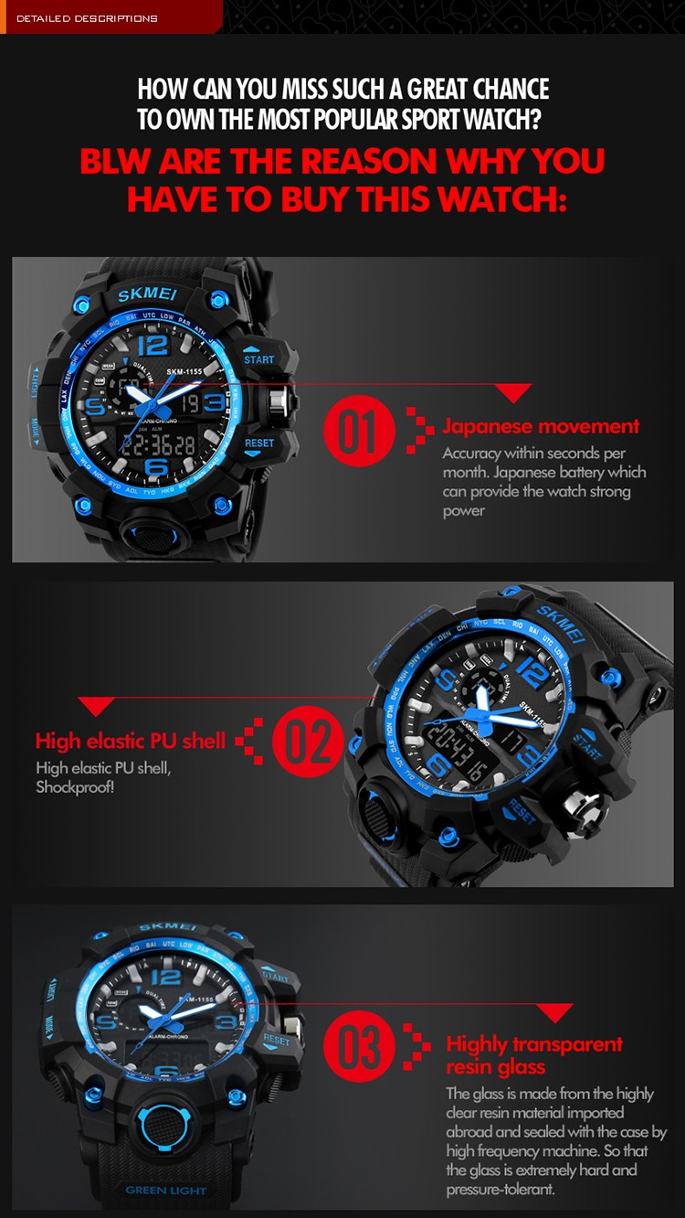 SKMEI 1155 Large Dial Shock Outdoor Sports Watches Men Digital LED 50M Waterproof Military Army Watch Alarm Chrono Wristwatches