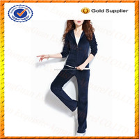 Custom Women Cheap Velour Tracksuit Ladies Velour Tracksuit Leisure Suit Wholesale